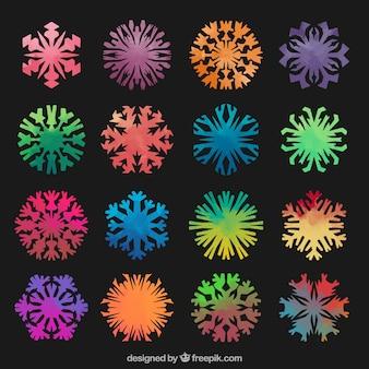 Kleurrijke sneeuwvlokken collectie