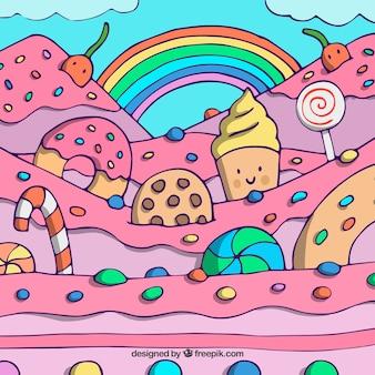 Kleurrijke snoep land achtergrond in de hand getrokken stijl