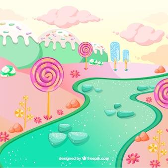 Kleurrijke snoep land achtergrond