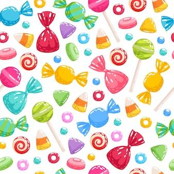 Kleurrijke snoep pictogrammen achtergrond - afbeelding.