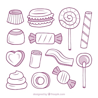 Kleurrijke snoepjes collectie in de hand getrokken stijl