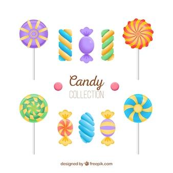 Kleurrijke snoepjes collectie in realistische stijl