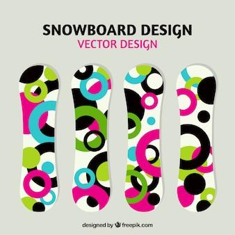 Kleurrijke snowboards met cirkels ontwerp