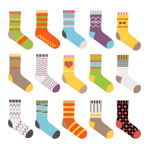 Kleurrijke sokken geplaatst