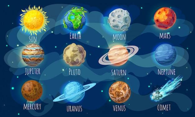 Kleurrijke space elements set
