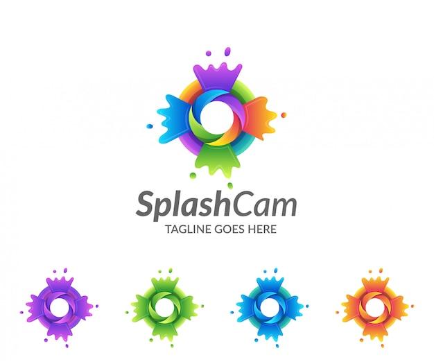 Kleurrijke splash en camera logo-ontwerp