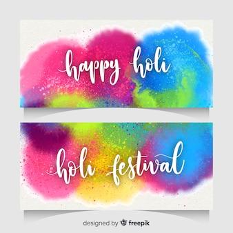 Kleurrijke spots holi fesival banner