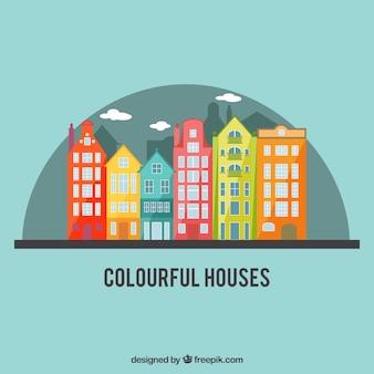 Kleurrijke stad huizen