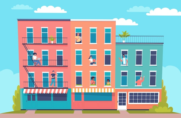 Kleurrijke stadsgezicht en gelukkige buren cartoon vectorillustratie