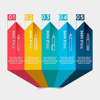 Kleurrijke stappen infographic sjabloon