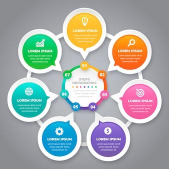 Kleurrijke stappen infographic