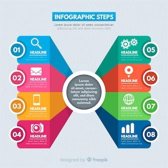 Kleurrijke stappen infographics sjabloon