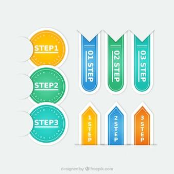 Kleurrijke stappen labels