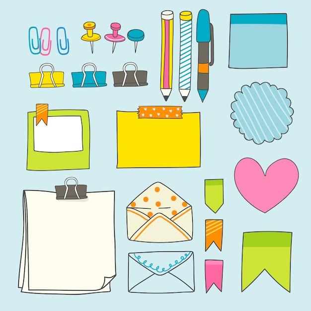 Kleurrijke stationery supplies-collectie
