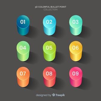 Kleurrijke staven opsommingsteken verzameling