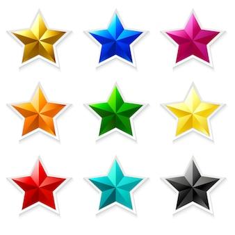 Kleurrijke ster icoon collectie met 3d-effect