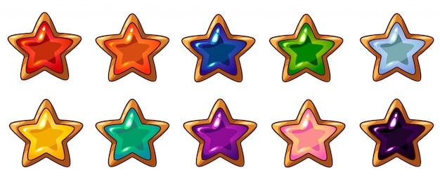 Kleurrijke ster juweeltje met gouden frame ingesteld voor mobiele game-interface