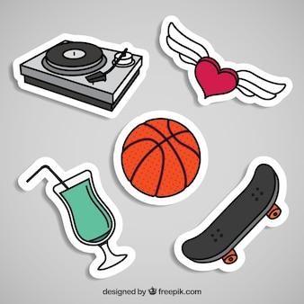 Kleurrijke stickers van moderne elementen