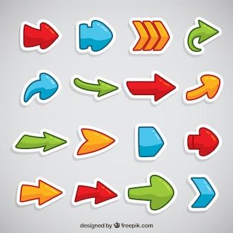 Kleurrijke stickers van platte pijlen