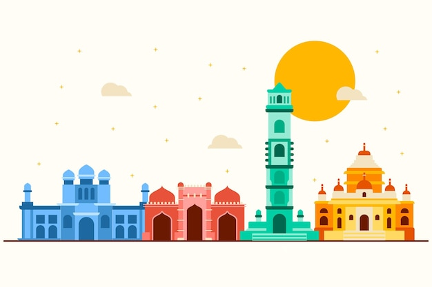 Kleurrijke stijl ahmedabad skyline