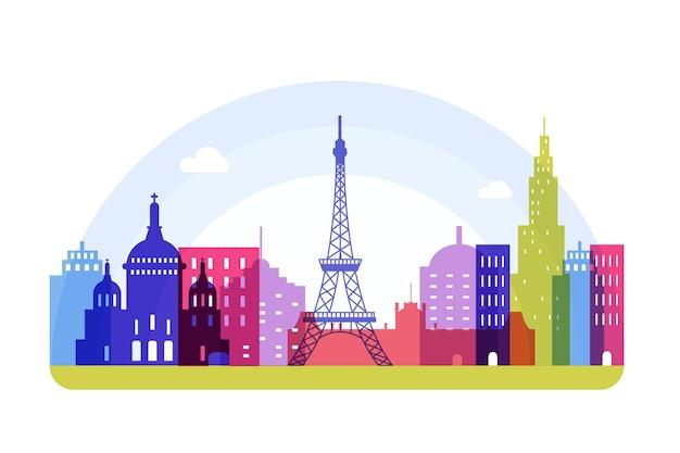 Kleurrijke stijl bezienswaardigheden skyline