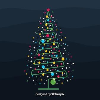 Kleurrijke stippen kerstboom achtergrond