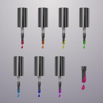 Kleurrijke stippen nagellak. heldere kleuren geïsoleerd op een lichte achtergrond. schoonheid en cosmetica sjabloon, illustratie