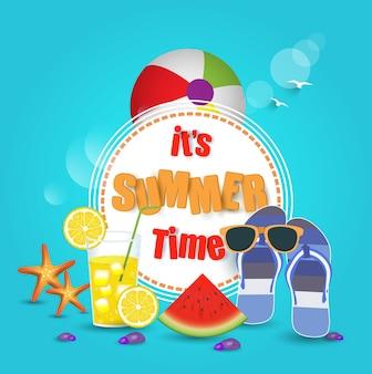 Kleurrijke strand en zomer elementen