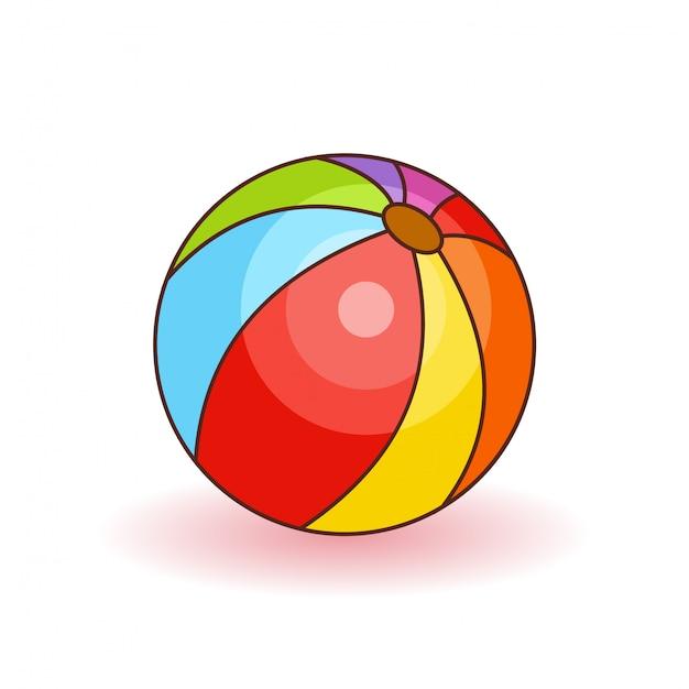 Kleurrijke strandbal vectorillustratie. witte, rode, gele en blauwe geïsoleerde strandbal. speelgoed voor kinderen