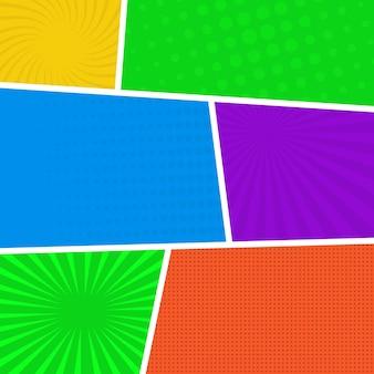 Kleurrijke stripboekpagina-achtergrond in pop-artstijl. lege sjabloon met stralen en stippen patroon. vector illustratie