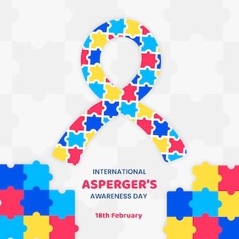 Kleurrijke stukjes puzzel lint aspergers bewustwordingsdag hand getrokken