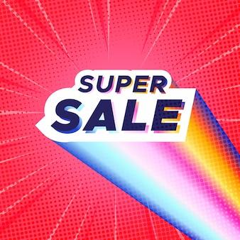 Kleurrijke super sale-banner met rode komische zoomachtergrond