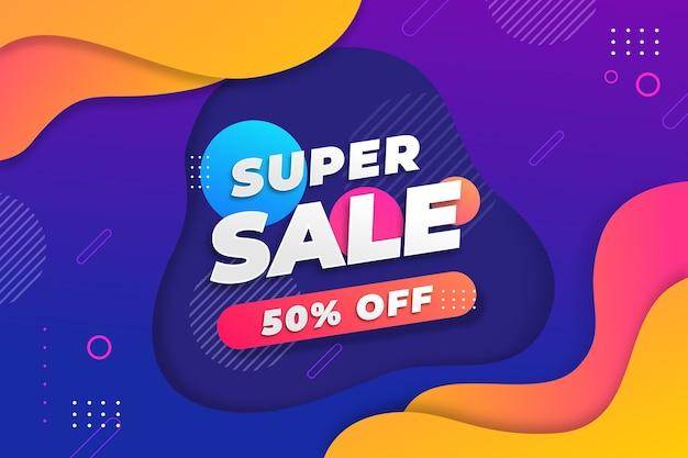 Kleurrijke super verkoop achtergrond met aanbieding