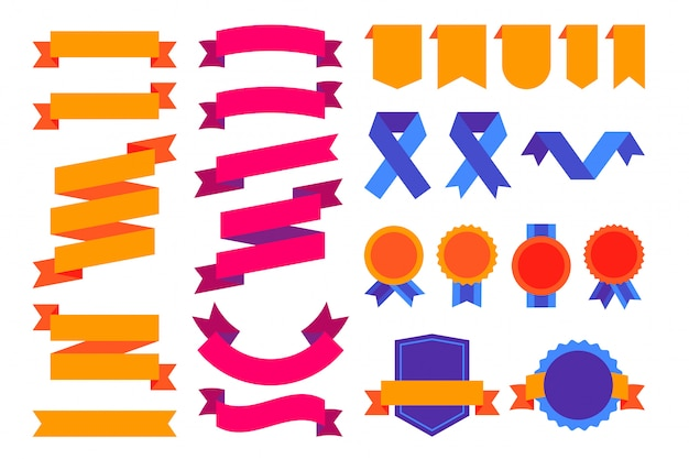 Kleurrijke superreeks linten, emblemen en badges