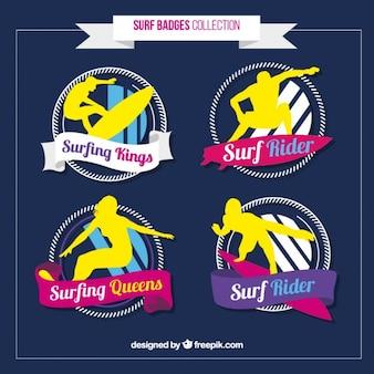 Kleurrijke surf badge collectie