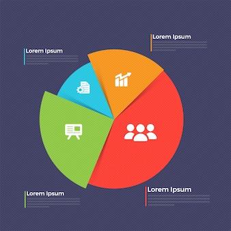 Kleurrijke taartdiagram met websymbolen voor business.