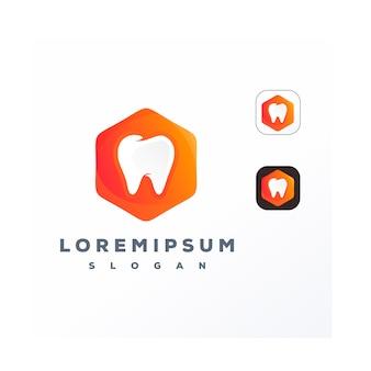 Kleurrijke tandheelkundige in zeshoek logo