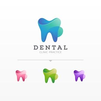Kleurrijke tandheelkundige logo-variaties