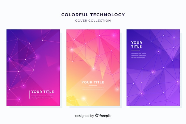 Kleurrijke technologiebrochure set