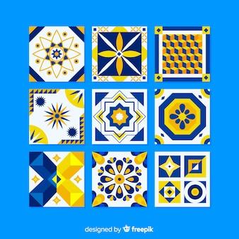 Kleurrijke tegelcollectie met plat ontwerp
