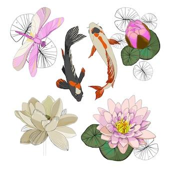 Kleurrijke tekening lotus set