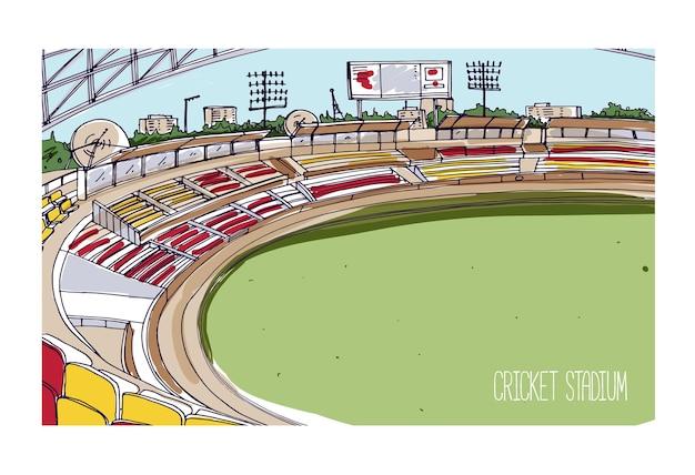 Kleurrijke tekening van cricketstadion met rijen stoelen, elektronisch scorebord en groen grasveld.