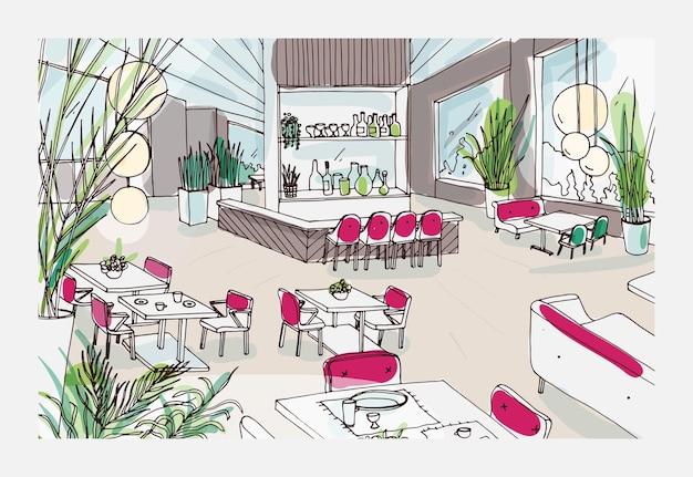 Kleurrijke tekening van restaurant of bistro-interieur met modern meubilair