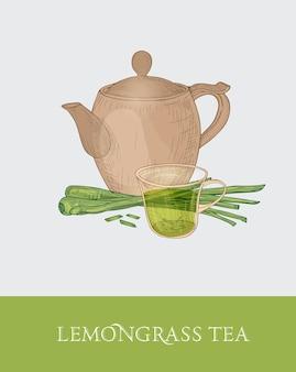 Kleurrijke tekening van theepot, glazen beker en vers gesneden citroengrasstengels op grijs