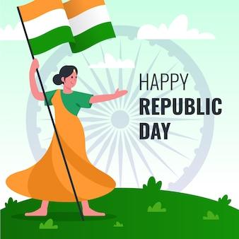 Kleurrijke tekening voor de dag van de indische republiek