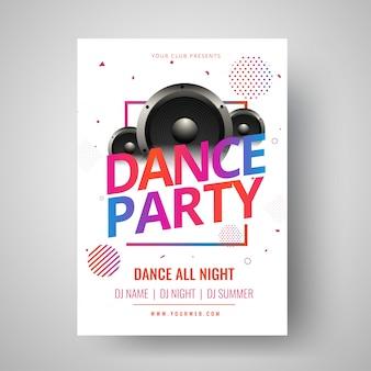 Kleurrijke tekst dansfeest met illustratie van woofer en abstra
