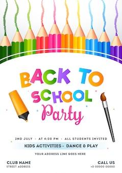 Kleurrijke tekst van kids activiteit, dans & play sjabloon voor flyer