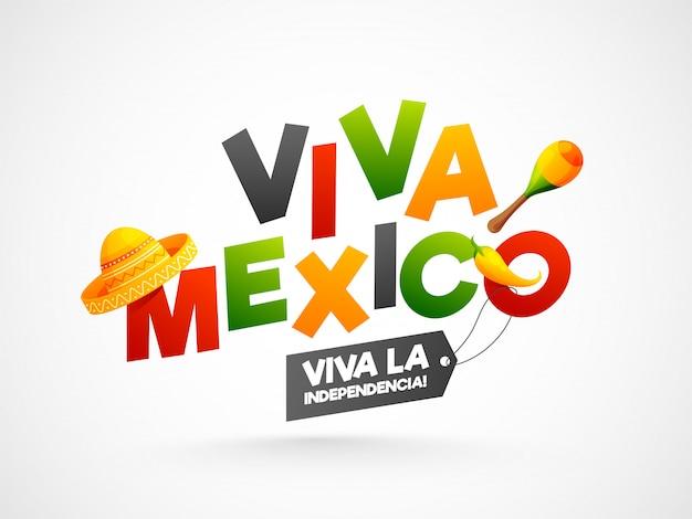 Kleurrijke tekst van viva mexico met sombrerohoed