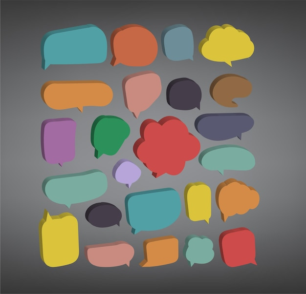 Kleurrijke tekstballon gesneden papieren ontwerpsjabloon vector