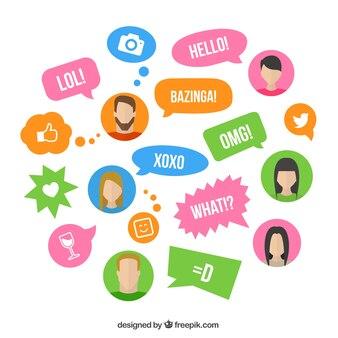 Kleurrijke tekstballonnen met uitdrukkingen